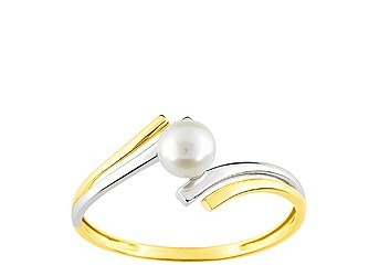 Bague en or et perle, bicolore