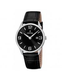 Montre avec bracelet en cuir, et cadran noirs.