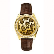 Montre avec bracelet en cuir marron, et son cadran rond léopard.