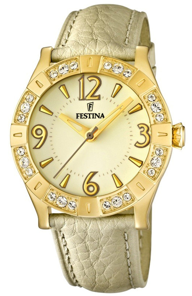 Festina - F16580-2 , Montre femme - Collection Gold - Cuir.