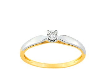 bague solitaire or bicolore christian bernard QN095XB4
