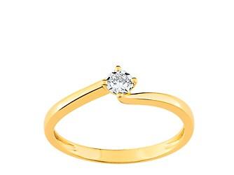 Bague en or jaune et diamant solitaire