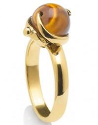 Bague en plaqué or et sa pierre Oeil de Tigre.