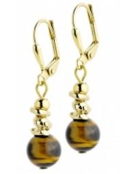 Boucles d'oreilles, en plaqué or et ses pierres Oeil de tigre.