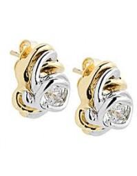 boucles d'oreilles bicolore en plaqué or