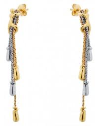 boucles d'oreilles bicolore en métal doré