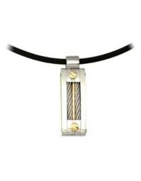 cordon en caoutchouc et pendentif en acier et or