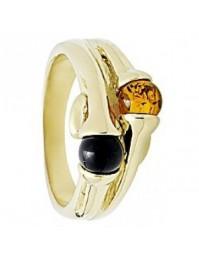 bague en métal doré sertie de pierres en ambre et onyx