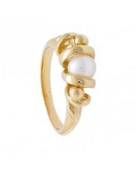 bague en plaqué or, sertie d'une perle douce blanche